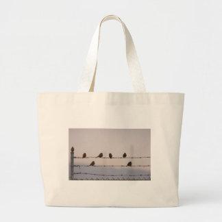 Birds on a Fence Bag