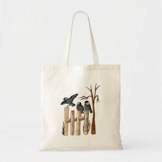 Birds On A Fence Canvas Bag