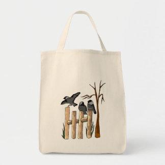 Birds On A Fence Canvas Bags