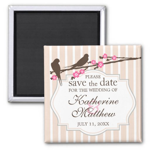 Birds on a Flowering Sakura Save The Date Magnet