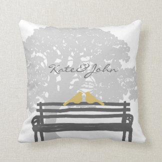 Birds on a Park Bench Wedding Pillows