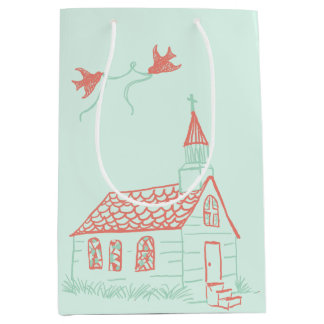 Birds on a Park Bench Wedding Medium Gift Bag