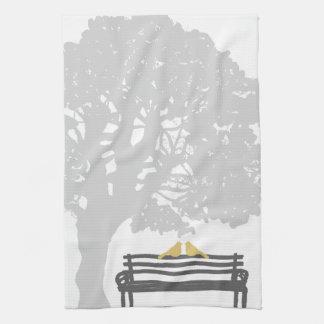 Birds on a Park Bench Wedding Tea Towel