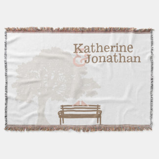 Birds on a Park Bench Wedding Throw Blanket
