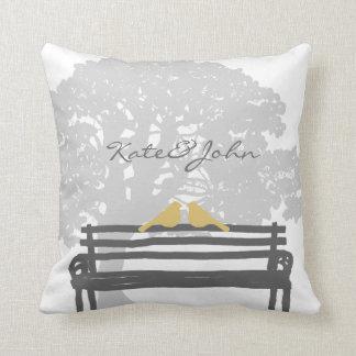 Birds on a Park Bench Wedding Throw Pillow