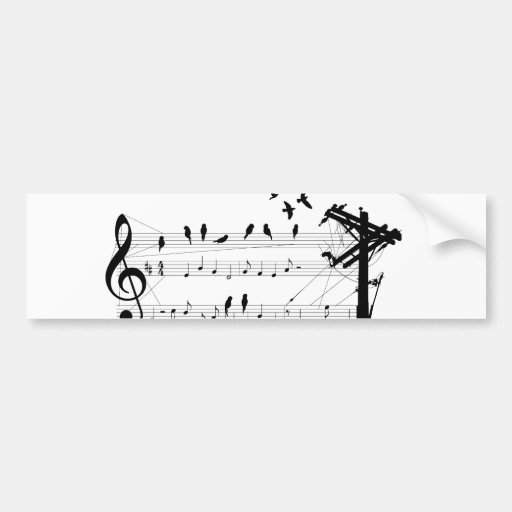 Birds on a Score sticker Bumper Sticker