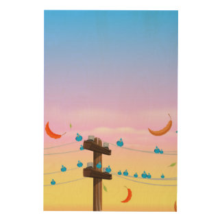 Birds on a telegraph wire. wood wall decor