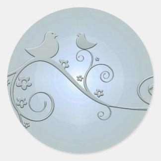 Birds on a Vine Round Sticker