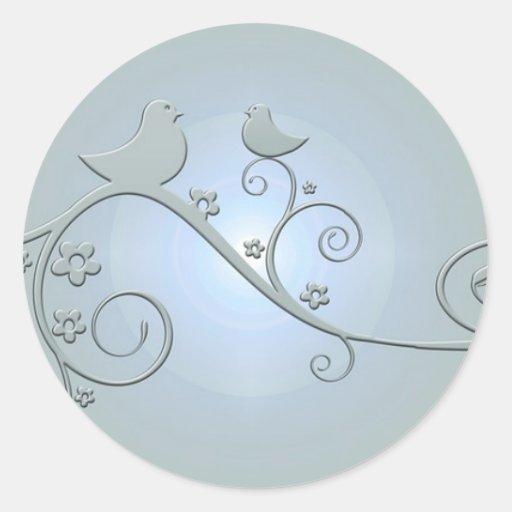 Birds on a Vine Round Stickers