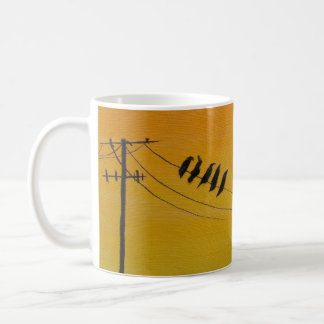 Birds On A Wire at Sunset Coffee Mug