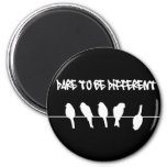 Birds on a wire – dare to be different (black) refrigerator magnet