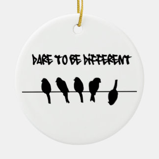 Birds on a wire – dare to be different Double-Sided ceramic round christmas ornament