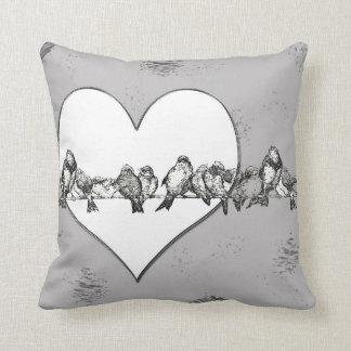 Birds on a Wire Heart Throw PIllow