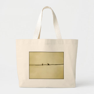 Birds on a Wire in Autumn Large Tote Bag