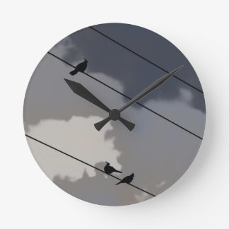 BIRDS ON A WIRE IN RURAL QUEENSLAND AUSTRALIA WALL CLOCKS