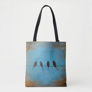Birds on a wire rustic, bronze, blue tote bag.