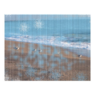 birds on beach grunged stripes shore image personalized flyer