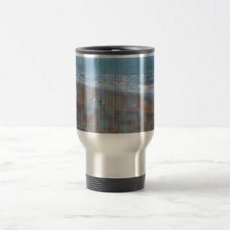 birds on beach grunged stripes shore image coffee mug