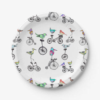 Birds on Bikes Paper Plate 7 Inch Paper Plate