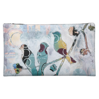 birds on branch cosmetic bags