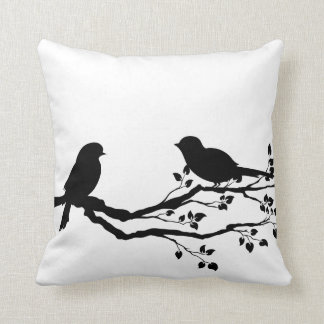 Birds On Branch Reversible Throw Pillows
