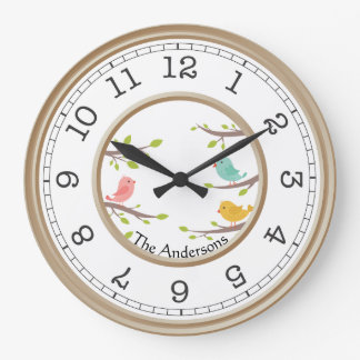 Birds On Branches Country Rustic Wall Clock Name