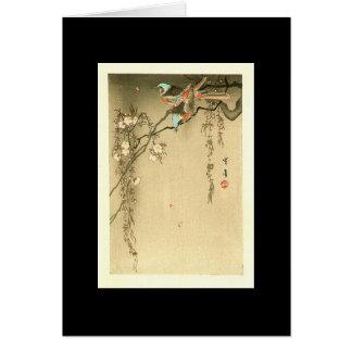 Birds on Cherry Tree by Seitei Watanabe 1851- 1918 Card