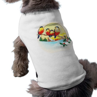 BIRDS ON HOLLY SLEEVELESS DOG SHIRT