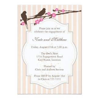 Birds on Sakura Engagement Party Invitations