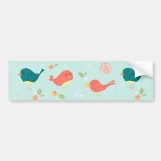 Birds on Stripes with Flowers Car Bumper Sticker