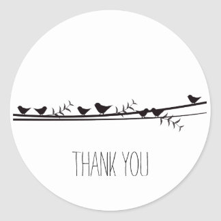 Birds on Vine Thank you Classic Round Sticker
