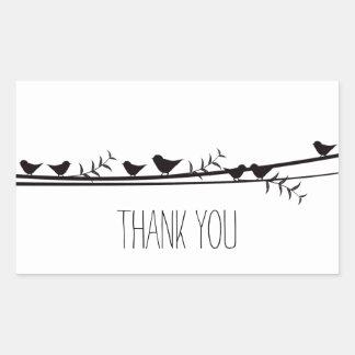 Birds on Vine Thank you Rectangular Stickers
