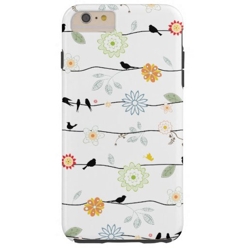Birds on Vines with Flowers Tough iPhone 6 Plus Case
