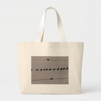 Birds on Wire Large Tote Bag
