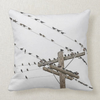 Birds perched on wires throw pillow