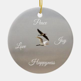 Birds Photo Peace Joy Love Happiness Ceramic Ornament