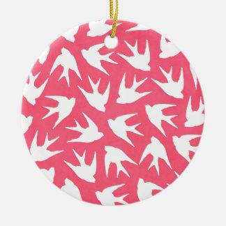 Birds Pink Round Ceramic Decoration