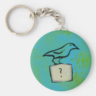 Birds question marks colourful art Orderly Basic Round Button Key Ring