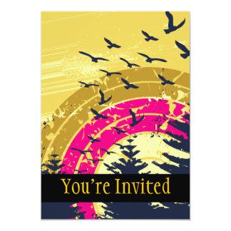 Birds & Rainbow In The Golden Sky 5x7 Paper Invitation Card