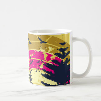 Birds & Rainbow In The Golden Sky Coffee Mug
