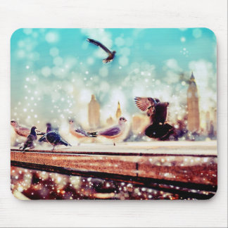Birds, sea gulls - River thames view, London Mouse Pad