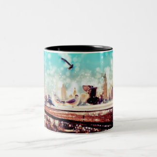 Birds, sea gulls - River thames view, London Two-Tone Coffee Mug