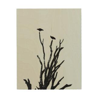 Birds silhouette wood wall art