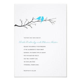 "Birds Silhouettes Wedding Invitation - Turquoise - 5"" X 7"" Invitation Card"