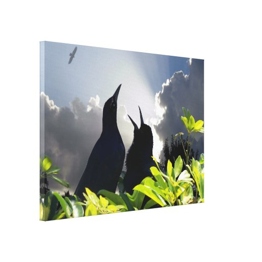 Birds singing Heaven and nature sing poster photo Gallery Wrapped Canvas
