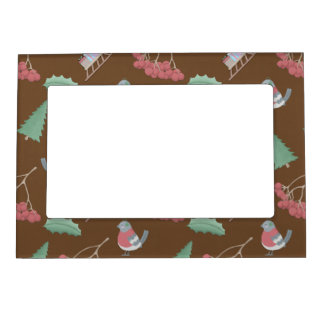 Birds, Sleds and Holly Christmas Magnetic Frame