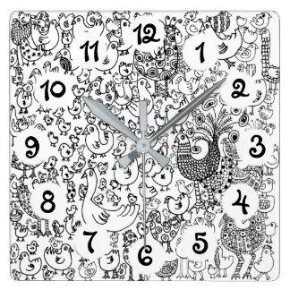 Birds Square Wall Clock