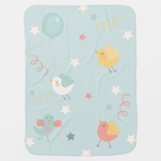 Birds Stars Party Streamers New Baby Nursery Baby Blanket