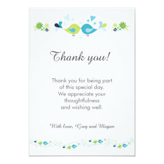 Birds Thank You Party Personalised Card 13 Cm X 18 Cm Invitation Card
