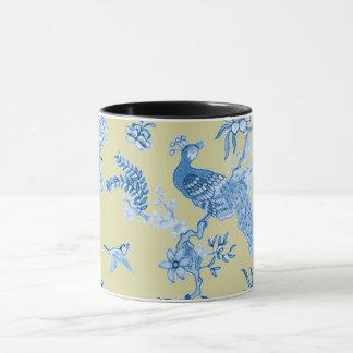 Birds_Toile_Blue & Mustard Mug
